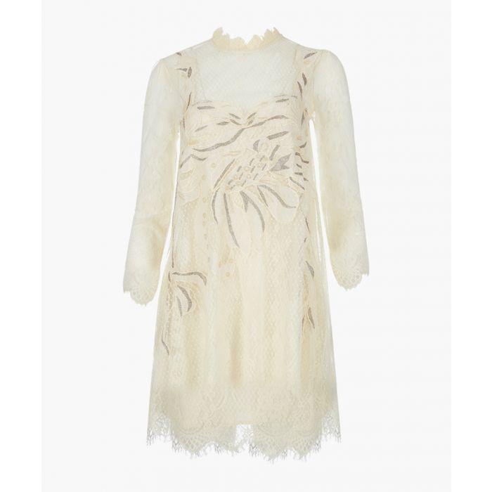 Image for Cream swan lace mini dress