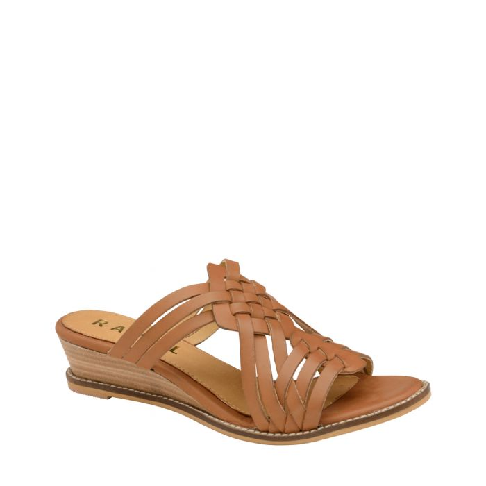 Image for Tan leather strappy wedges