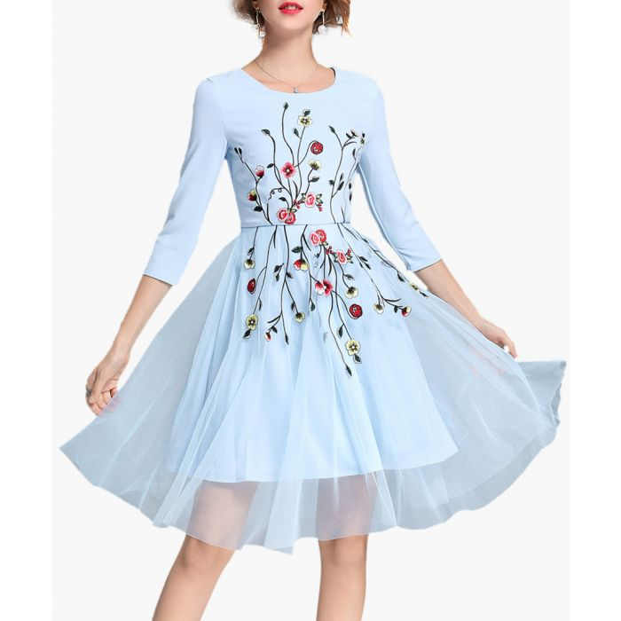 Image for Light blue & red printed dress