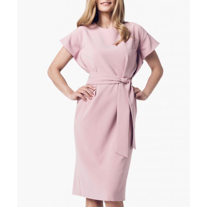 Image for Light pink short sleeve tie-waist dress