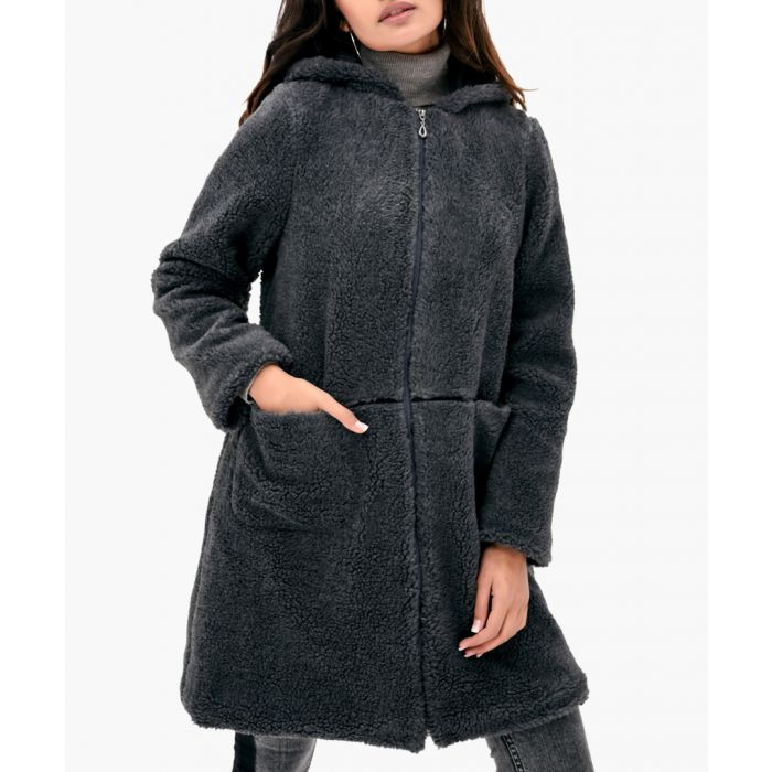 Image for Anthracite hooded zip-up teddy coat
