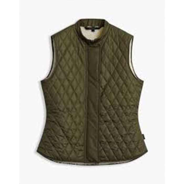 Image for Olive quilted zip-up gilet