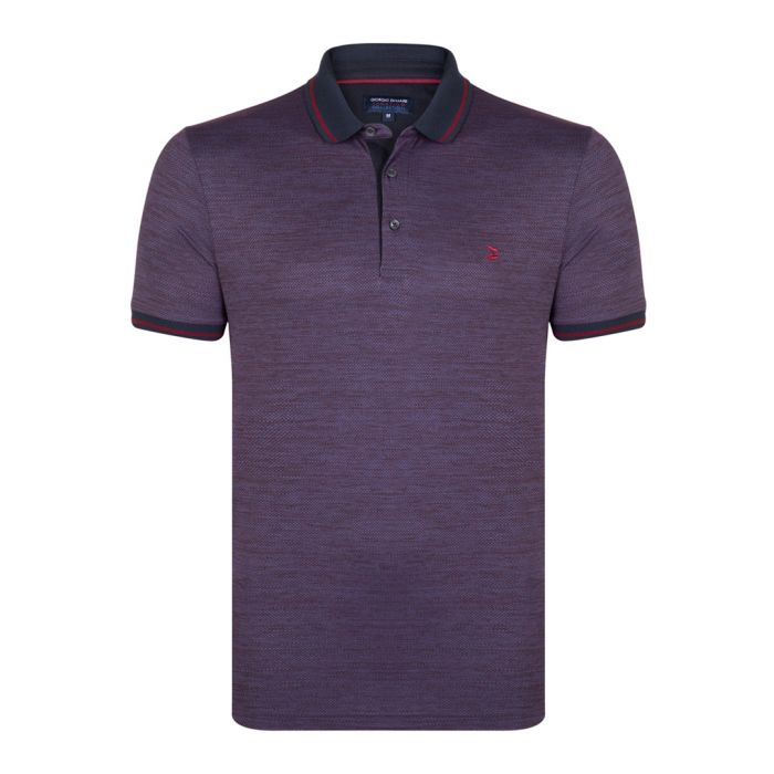 Image for Bordeaux and indigo polo shirt