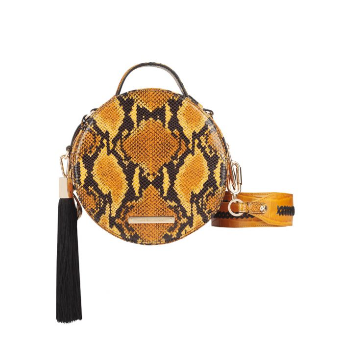 Image for The Ross orange leather circle crossbody