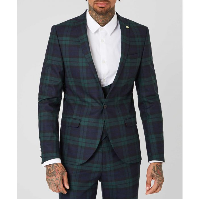 Image for Green wool blend tartan jacket