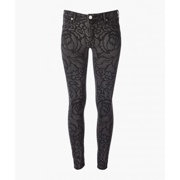 Image for Grey cotton blend floral jeans