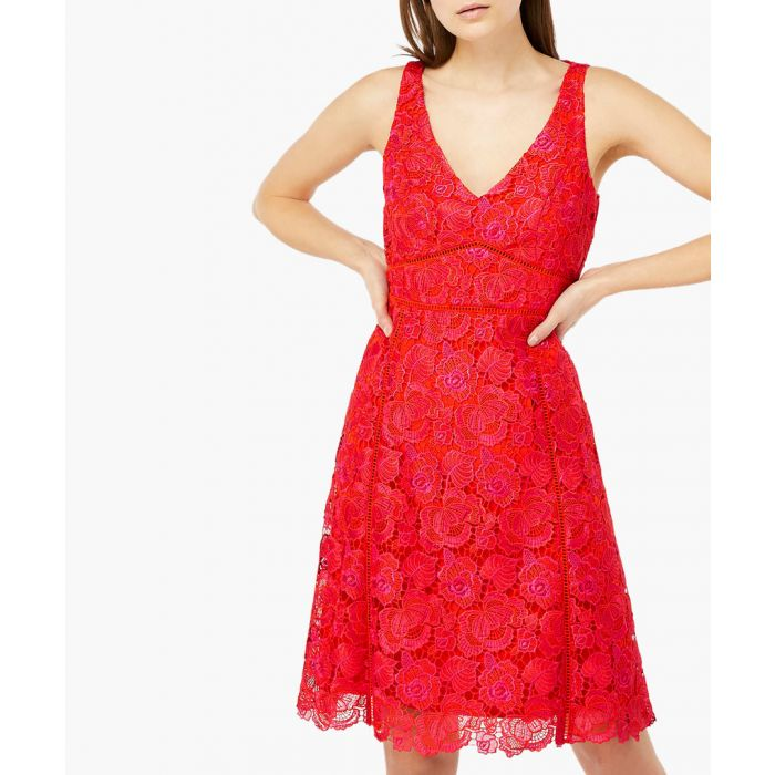 Image for Lucia pink lace v-neck dress