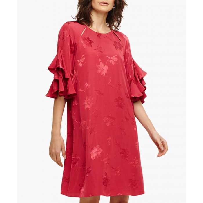 Image for Dena red floral ruffle-sleeve dress