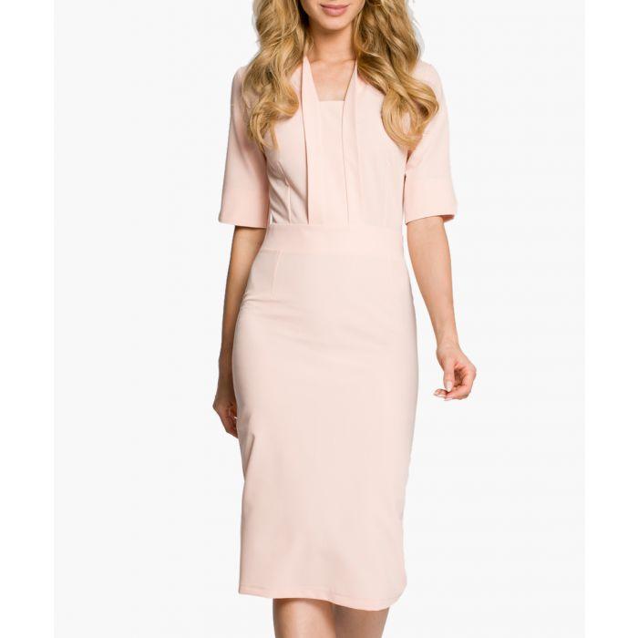 Image for Pink half-sleeve knee-length dress