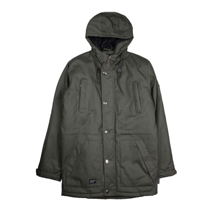 Image for Olive button-up hooded coat