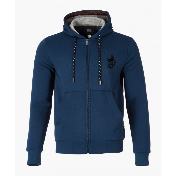 Image for Blue logo printed hoodie