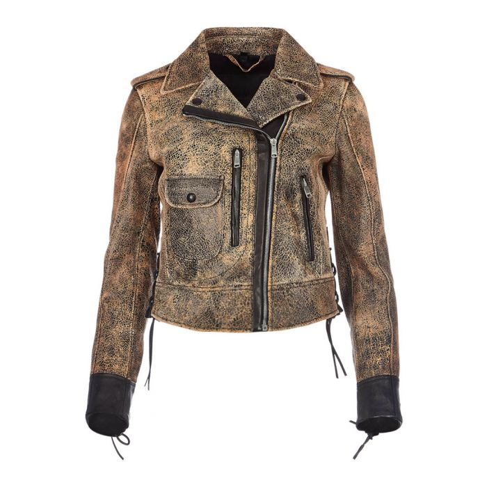 Image for Elmely marbled brown leather jacket