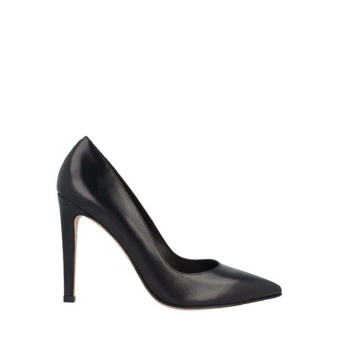 Image for Black leather pointed court heels
