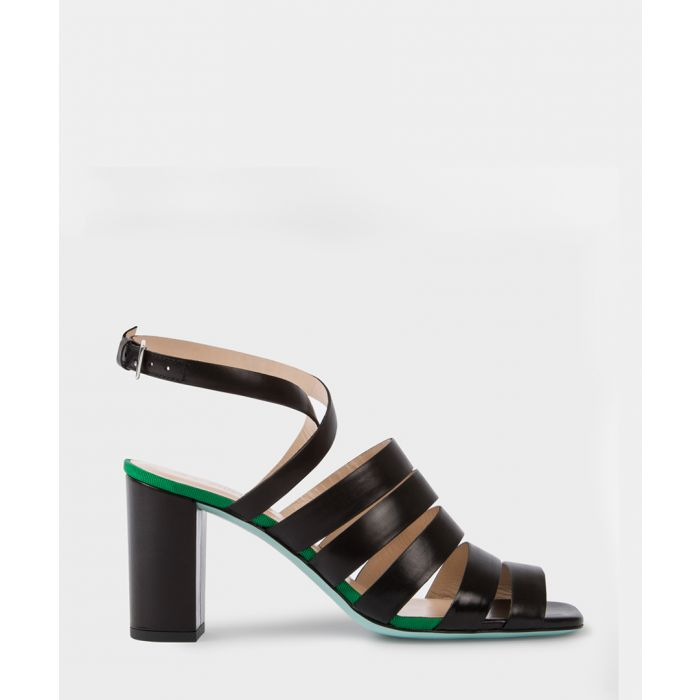 Image for Black leather block heel sandals