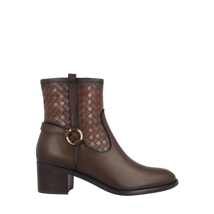 Image for Brown leather woven ankle boots