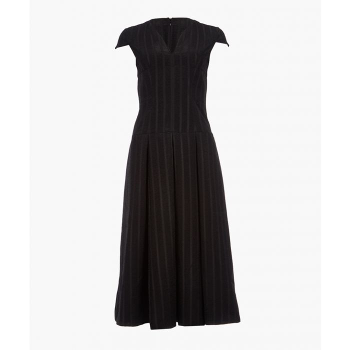 Image for Black ladder embroidered midi dress