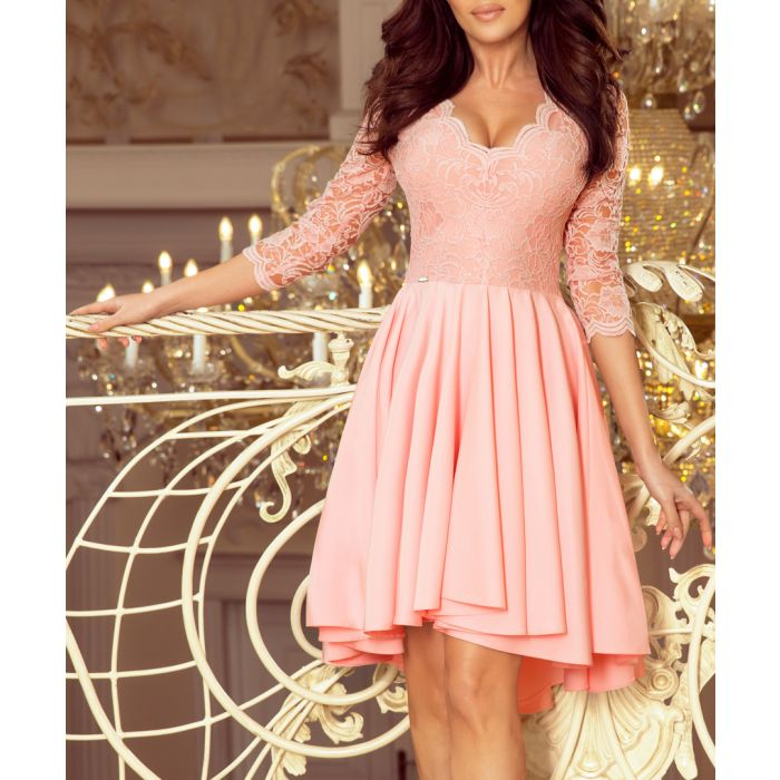Image for pale pink lace plunge pleated dress