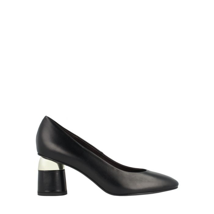 Image for Black leather block heels