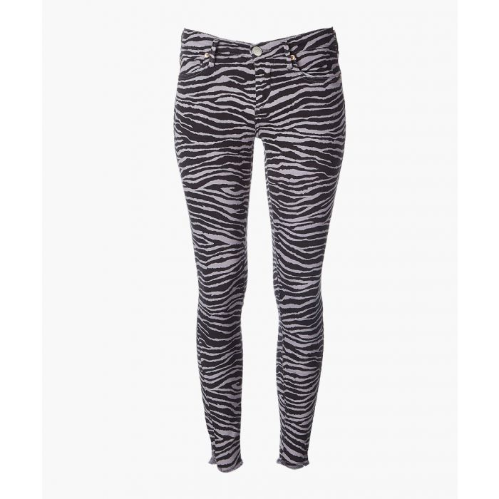 Image for Grey cotton blend zebra printed jeans
