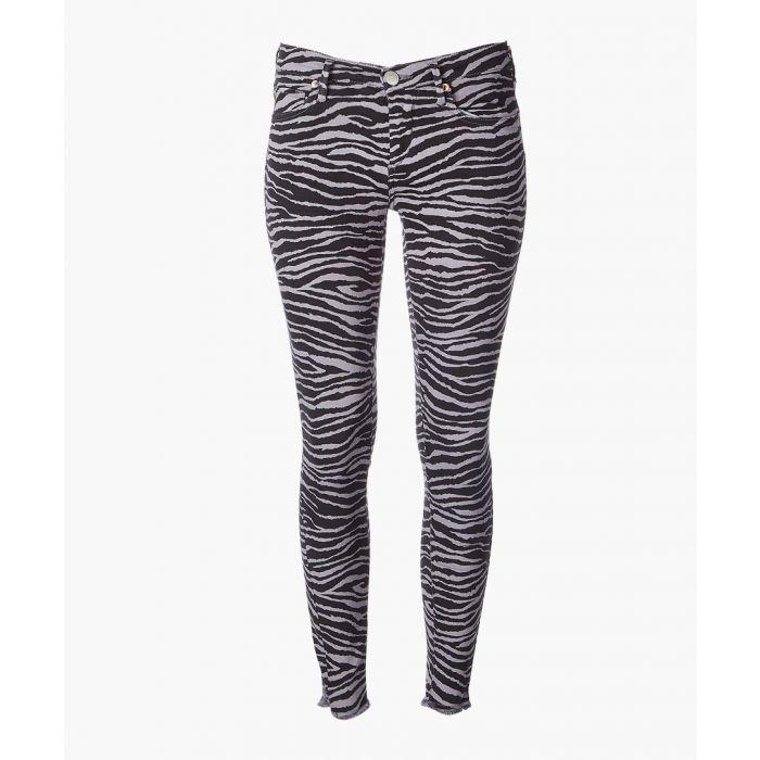 Image for Grey cotton blend zebra printed jeans