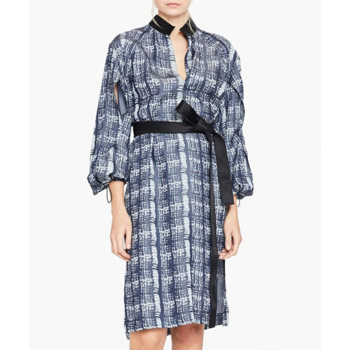 Image for Dark blue print long sleeve dress