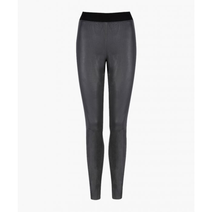 Image for Cowley charcoal leather leggings