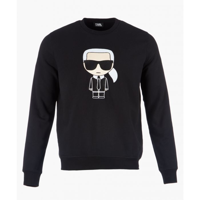 Image for Black logo motif long sleeved jumper