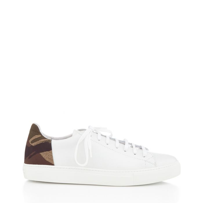 Image for BXS white & leaf green leather sneakers