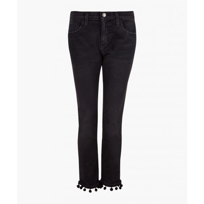 Image for The Cropped black cotton pompom jeans