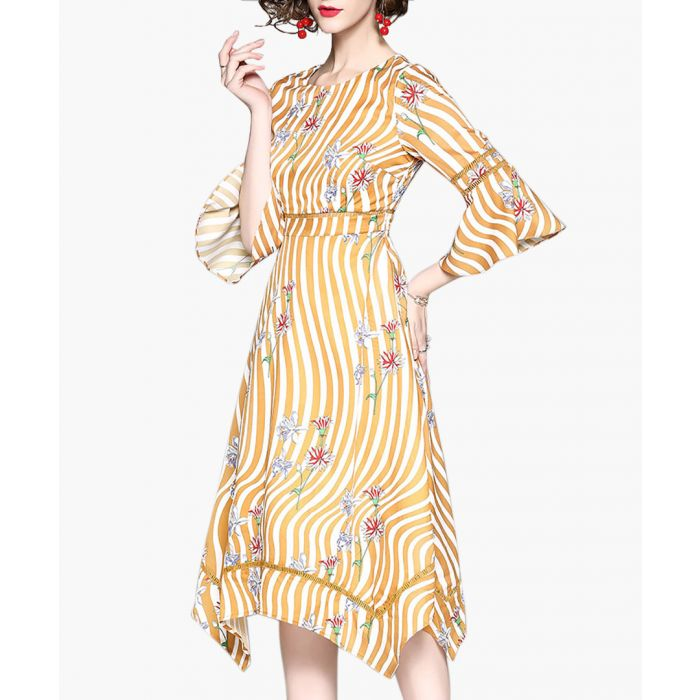 Image for Yellow striped floral 3/4 sleeve dress