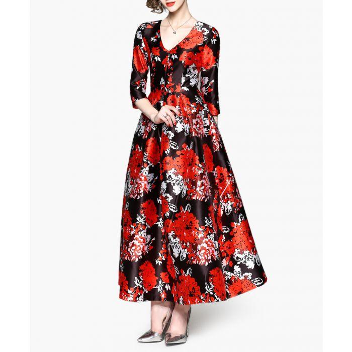 Image for Red floral V-neck maxi dress