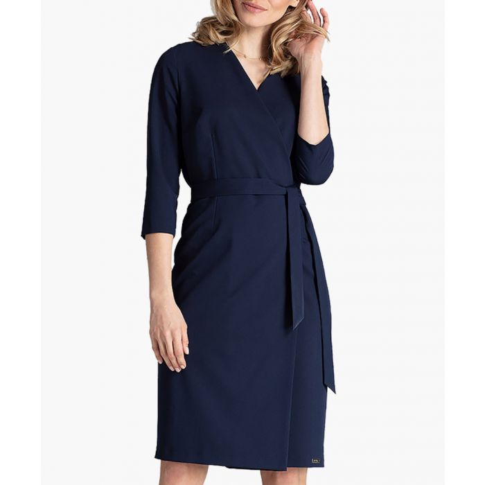 Image for Navy tie-waist wrap dress