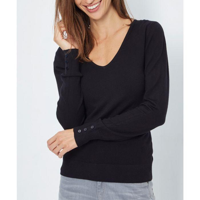 Image for Black cashmere blend V-neck jumper