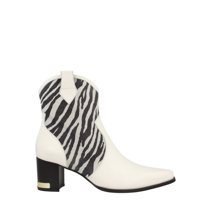Image for White zebra leather boots