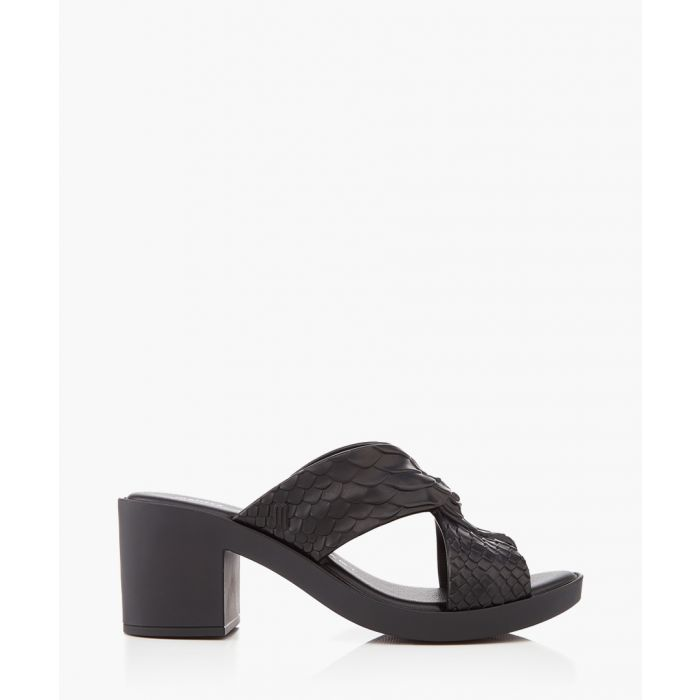 Image for Mule Python black sandals