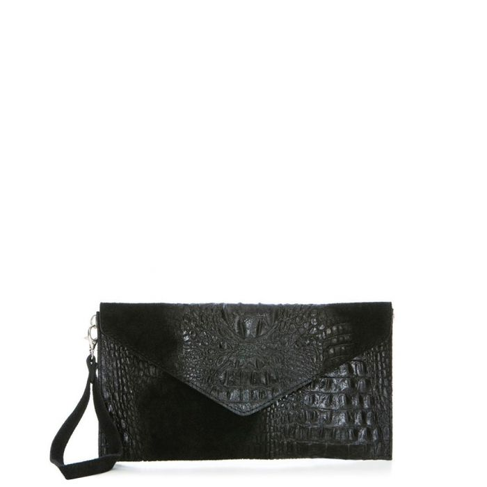 Image for black leather moc-croc clutch bag