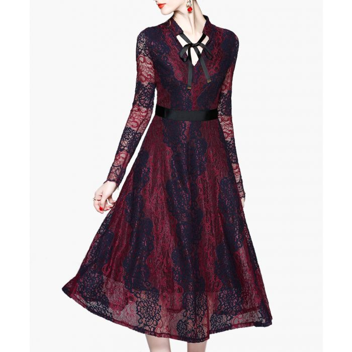 Image for wine & navy lace midi dress