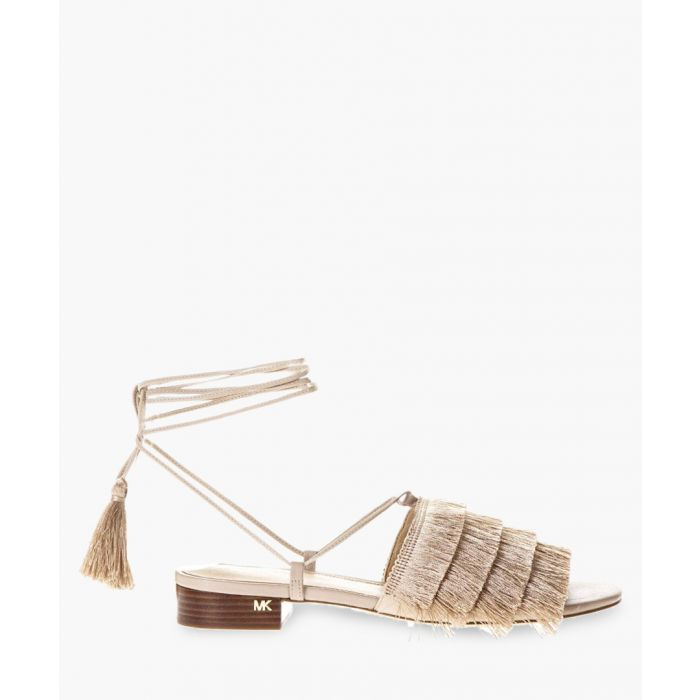 Image for Sand leather fringed lace-up sandals