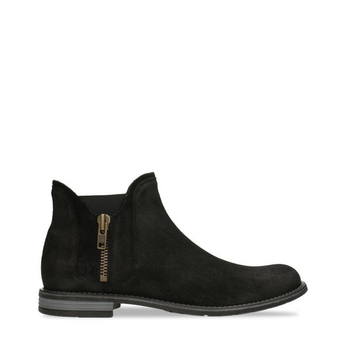 Image for Black suede zip-up ankle boots