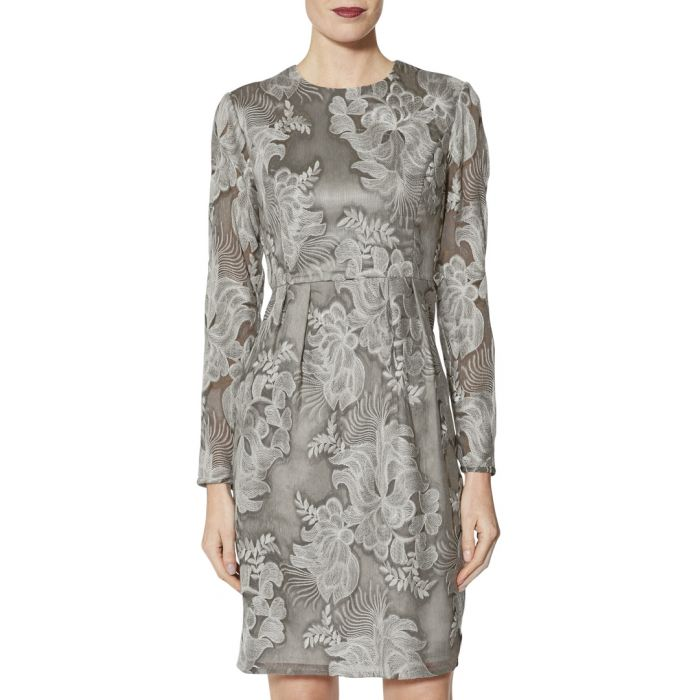 Image for Evie grey embroidered chiffon dress