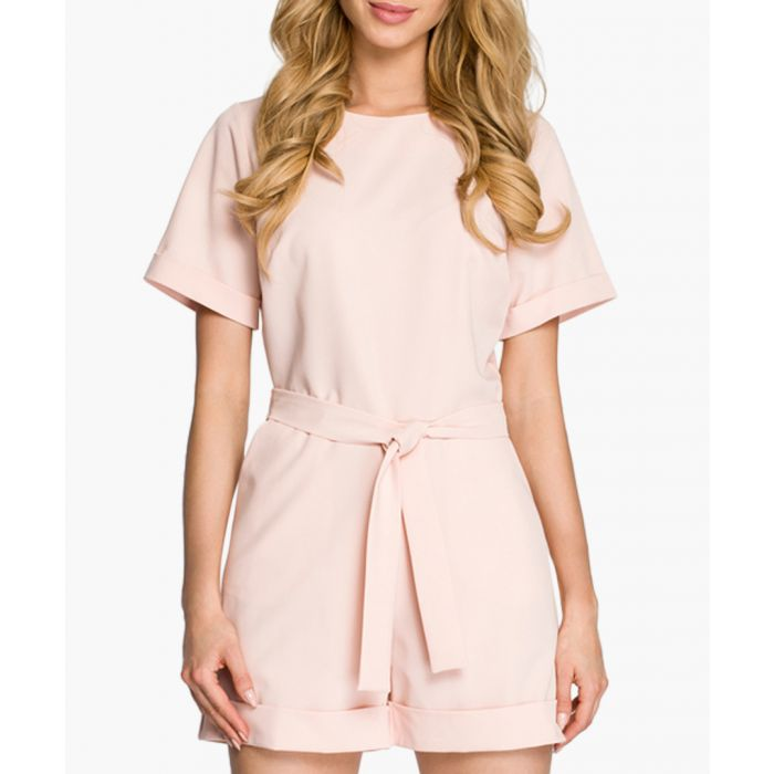 Image for Powder pink tie-waist playsuit