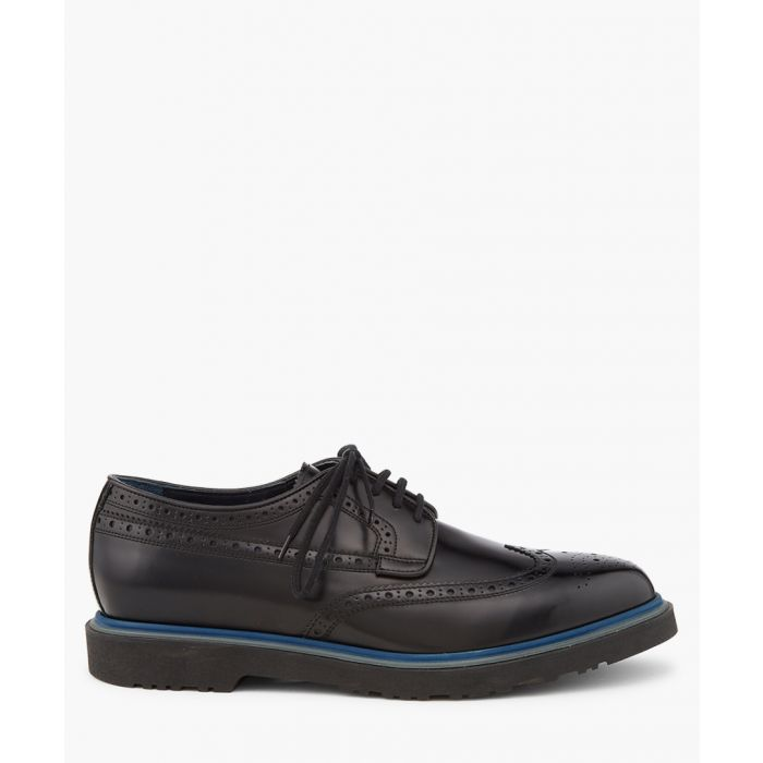 Image for Black leather perforated shoes