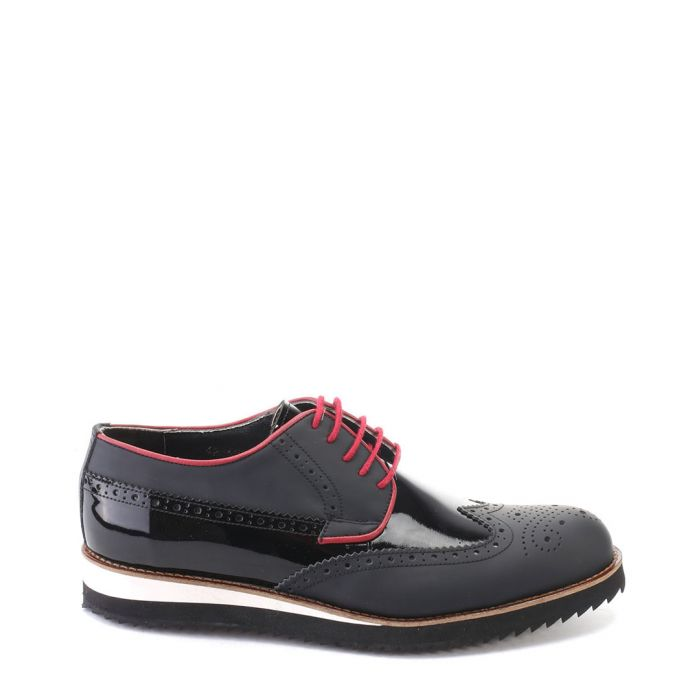 Image for Black matte & patent leather brogues