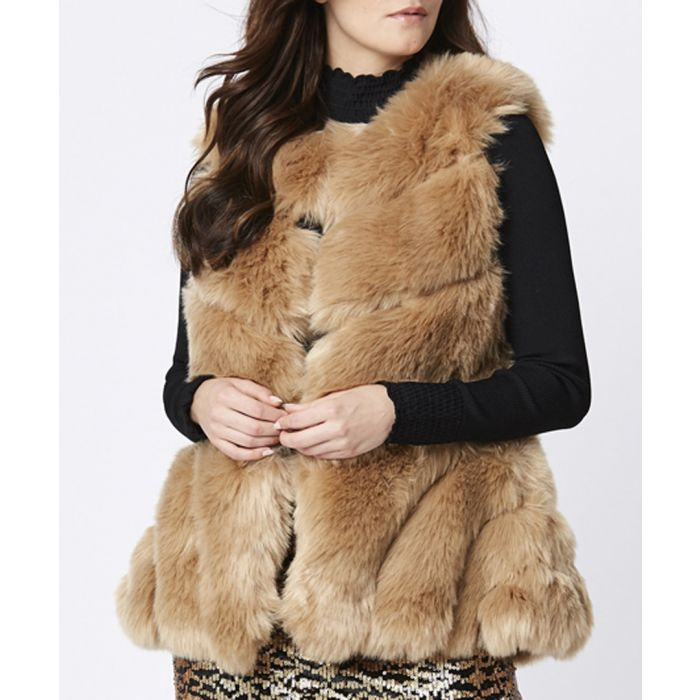 Image for Mocha faux fur gilet
