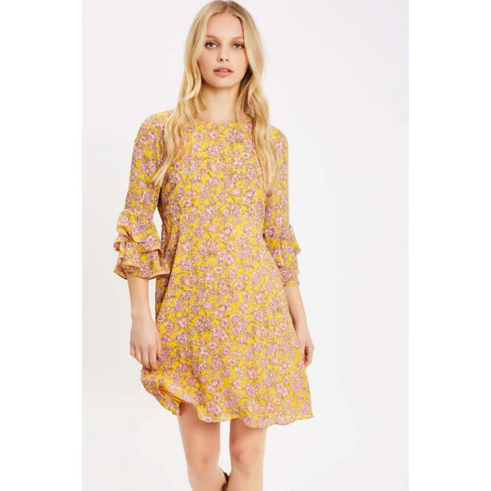Image for Floral Long Sleeve Printed Mini Dress in Yellow and Pink