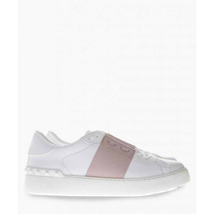 Image for White and rose leather trainers