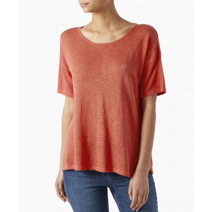 Image for Colette coral linen blend T-shirt