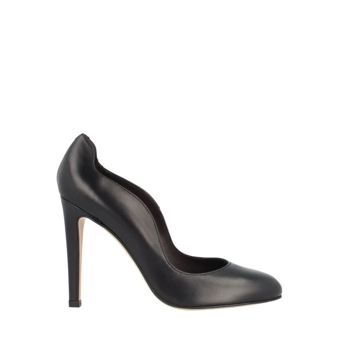Image for Black leather wavy cut heels