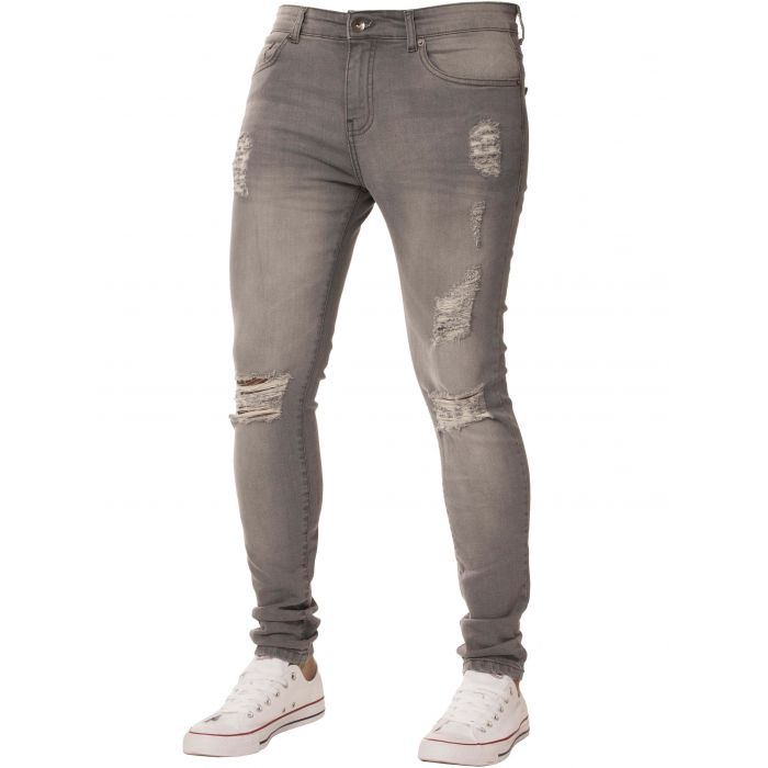 Image for Grey super skinny stretch ripped jeans