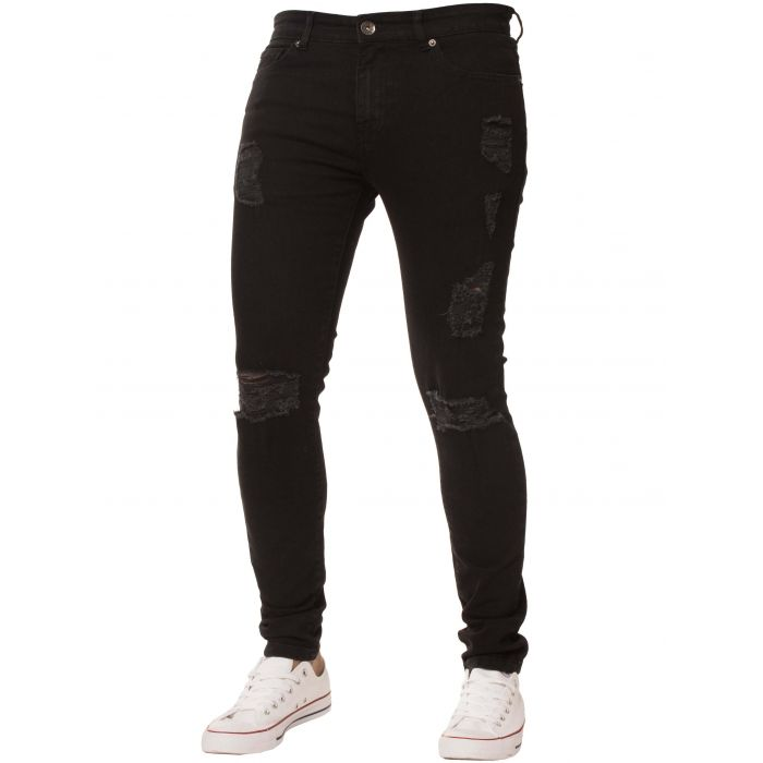 Image for Black super skinny stretch ripped jeans